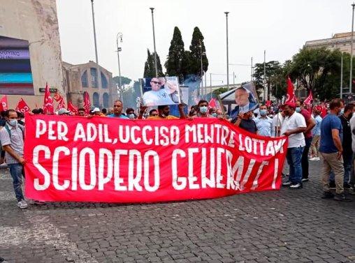 Manifestation pour Adil à Rome. (photo Si Cobas)
